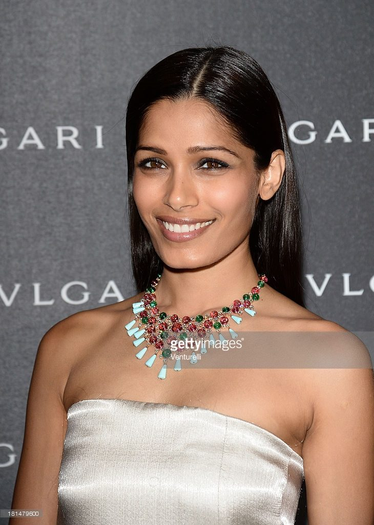 21.09.2013 - MFW Bulgari SS14 accessories presentation - Freida Pinto - Makeup hair Massimo Serini