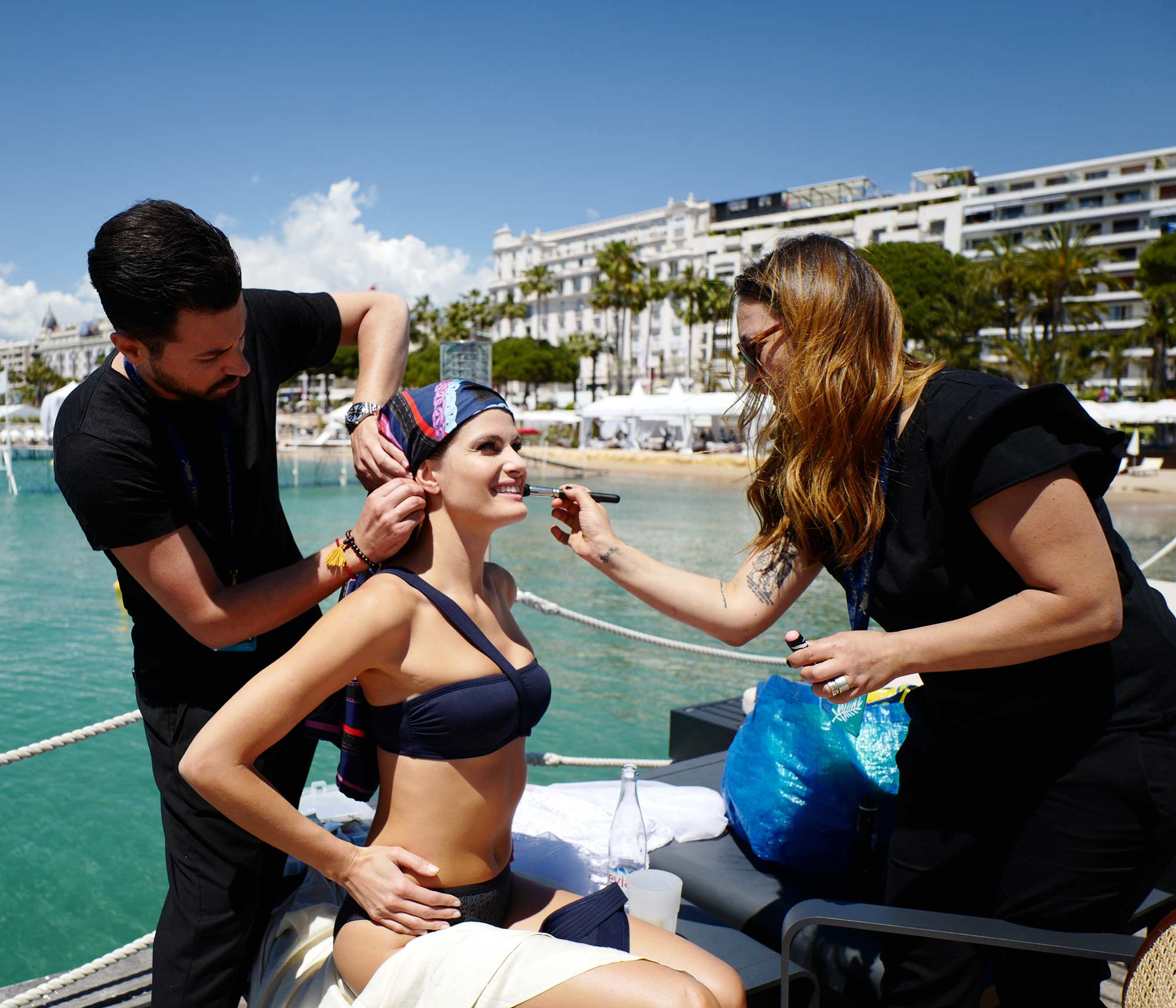 Cannes 2017 - Shooting Hola! - Isabeli Fontana, hair Luca De Bartolo, make up Emanuela Di Giammarco