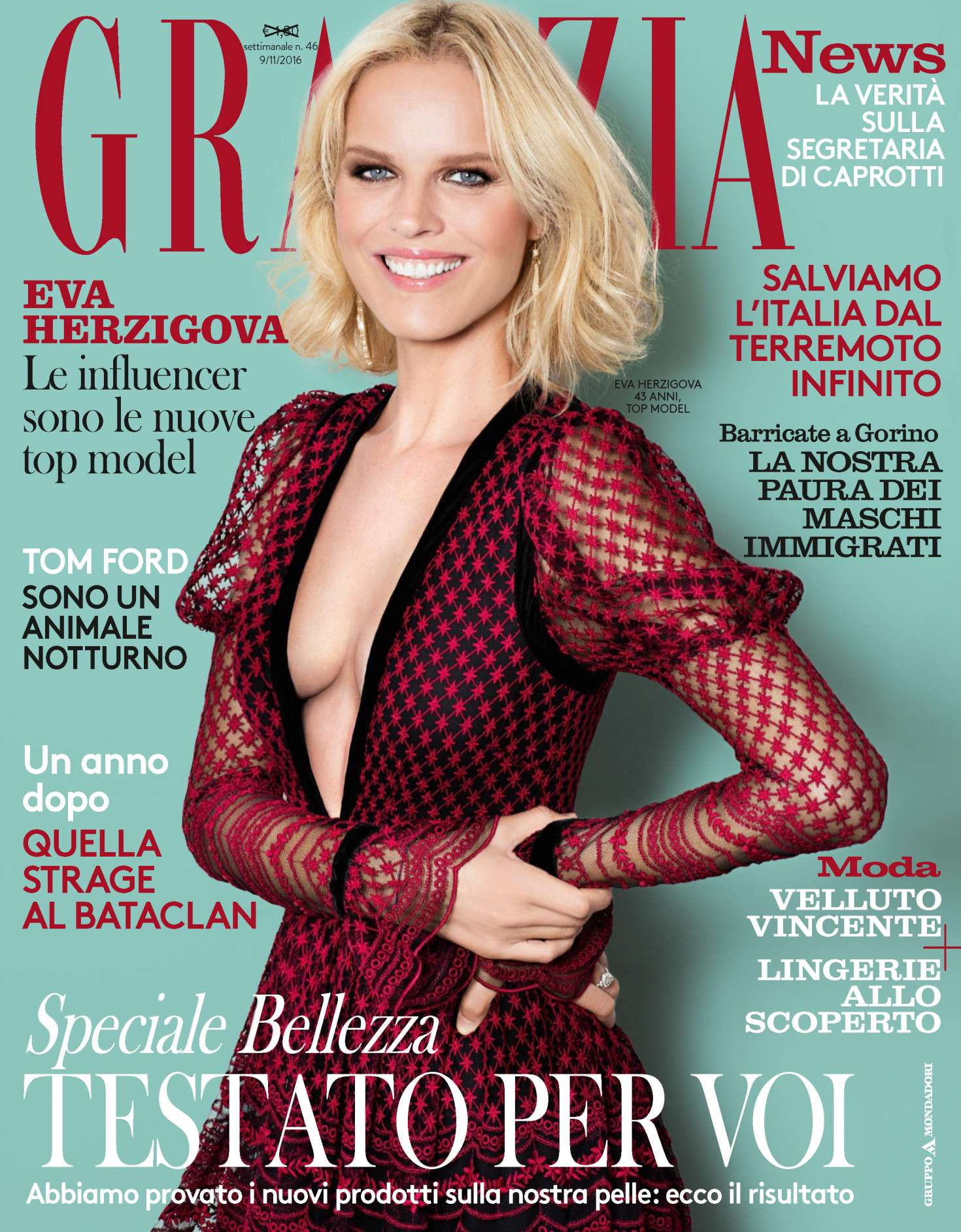 Grazia - 9 nov 2016 - Eva Herzigova - Makeup Massimo Serini