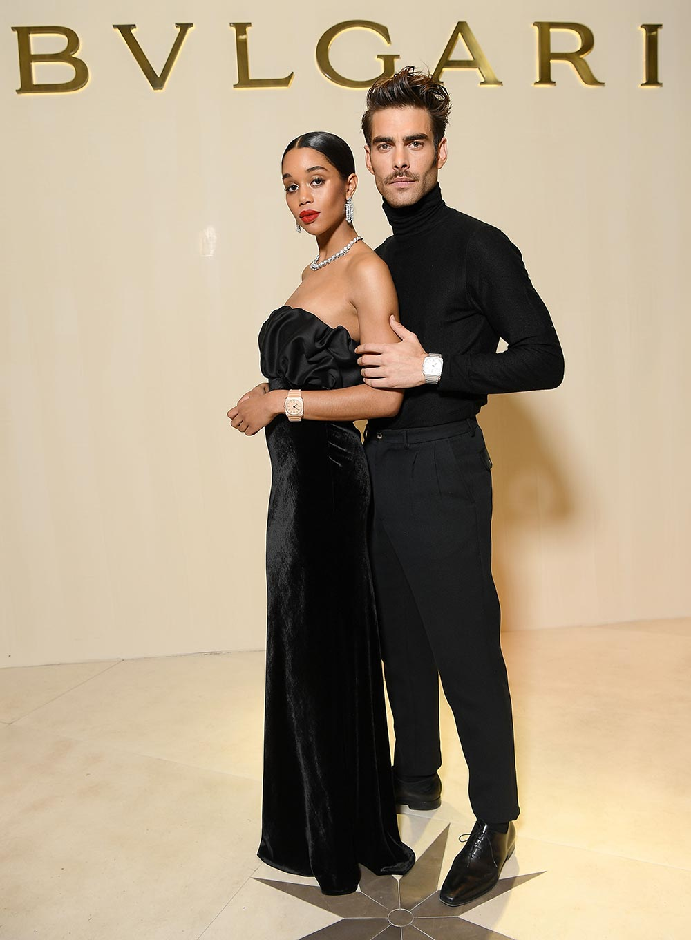 Bulgari Basel Press Party - Laura Harrier Jon Kortajarena - Hair & makeup Massimo Serini